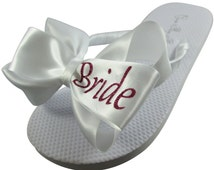 Bridal flip flops, Pink White any color Bride Glitter Bling Flip Flops - color, size, heel height, bow,  personalization- ivory /any colors