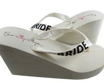 Bride Wedge Flip Flops, Ivory black glitter, wedge flip flops, wedding sandals, white, Wedding Shoes, wedge Bridal, platform heel brides