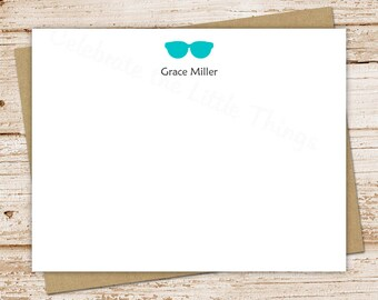 personalized sunglasses stationery set . sunglasses note cards . silhouette . notecards . flat stationary . set of 10