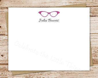 personalized stationery set . glasses note cards notecards . vintage eyeglasses . flat stationery . personalized stationary . set of 10