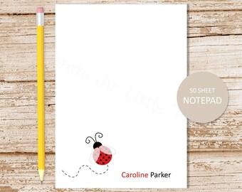 personalized ladybug notepad . red ladybug note pad . personalized stationery . custom stationary . girls notepad