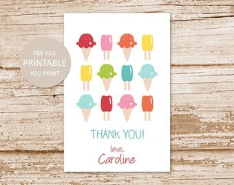 PRINTABLE personalized ice cream favor tags . happy birthday . ice cream cone favor stickers . thank you tags . gift tags . You Print