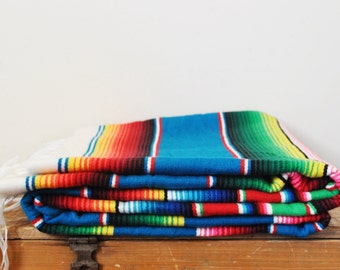 "Vintage Mexican Serape Colorful Blanket 60"" by 82"" Bright Multi Colored Variegated Stripes"