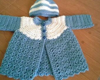 Crocheted Baby Boy Girl Infant Cardigan Sweater/Hat