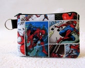 Handmade pouch with zipper - key ring - Spiderman superhero - pencil bag - small gadgets bag - credit cards storage - ready to ship