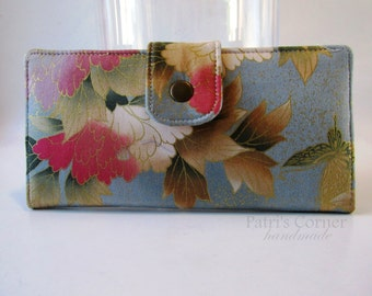 Handmade women wallet - Golden garden  - flowers in pastel colors with a touch of gold - custom order - purse clutch- gifts for her