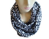 Silver Leopard Infinity Scarf, Black and Silver Infinity Scarf, Silver Cheetah Scarf