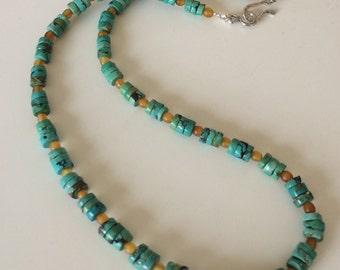 Unisex Necklace Mens Necklace Turquoise Heishi Horn Necklace Boho Rustic