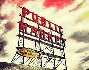 Market sign seattle Etsy