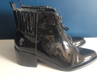 Black Patent zip ankle boots (5)