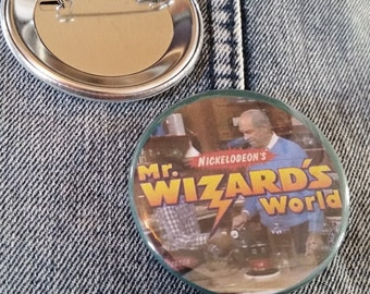 retro style Mr. Wizard Wizard's World pin 2-1/4inch pinback button hand pressed badges Nickelodeon 80s 1980s 90s 1990s buttons