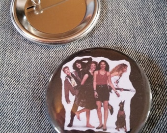 retro style Satisfaction movie pin 2-1/4inch pinback button Justine Bateman hand pressed badges 80s 1980s 90s 1990s buttons