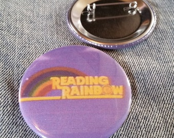 retro style Reading Rainbow pin 2-1/4inch pinback button hand pressed badges 80s 1980s 90s 1990s buttons