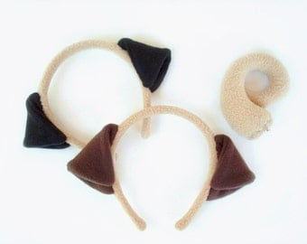 Pug Costume Set, Black or Brown Ears with Tail