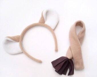 Lion Costume Set: Beige Ears Headband and Tail