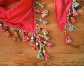 beaded scarf, triangular, coral