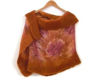 felted silk shawl, maroon, mustard tie dye
