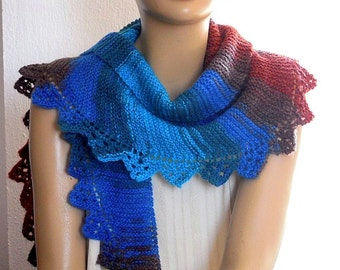 multicolored knitted scarf