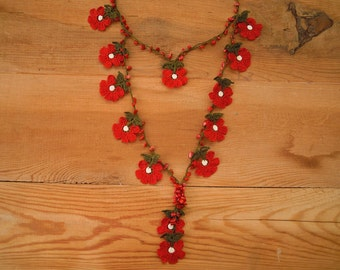 red flower necklace, double strand, crochet, turkish oya