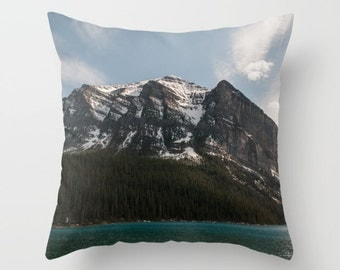 Lake Louise Cushion Cover, Rustic Mountain Lodge Decor, Blue Sofa Accent Pillow Case, Canadian Rocky Mountains Snow Capped Peaks, Alberta