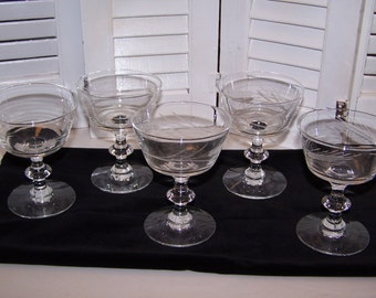 Vintage Etched Glass Stemware