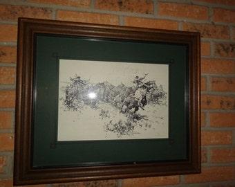 """Vintage Nick Eggenhofer Western Art Print """"The Great Buffalo Hunt"""" Framed"""