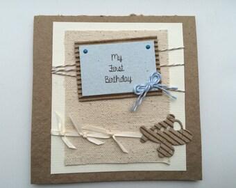 First Birthday Boy Card - Baby Boy Card - Plane Birthday Card - Handcrafted Card - New Parents card