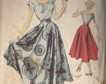 Vintage 1950's Misses' Circle Skirt And Scoop Neck Blouse Pattern, Wide Waistband, Advance 5509