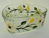 candy dish, painted candy dish, heart shape dish- ivory flower design