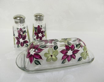 SALE-Salt and pepper shakers, painted salt and pepper shakers, painted butter dish, covered butter dish