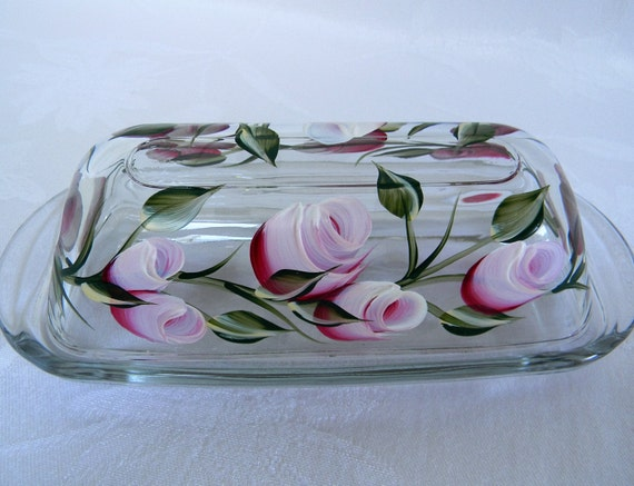 Butter dish, covered butter dish, butter dish with lid, butter dish with roses, glass butter dish