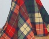 Beautiful Large Plaid Stadium Blanket / Throw  Wonderful Forest Green, Reds, Navy Blue & Cream Woven Scottish Style 100% Wool Plaid Blanket