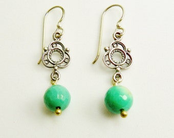 Chrysoprase Natural Stone Earrings / Spring Green / Sterling Silver