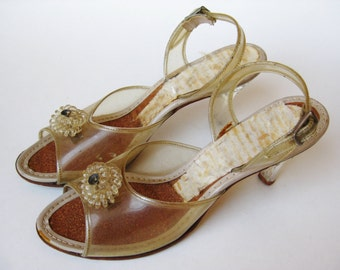 Vintage 50s Lucite Rhinestone High Heel Slingback Rockabilly Girl Dance Shoes size 5 1/2 - 6