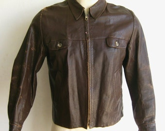 Vintage 40s 50s Brown Leather Zip Front Cafe Racer Motorcycle Horsehide Jacket size Large