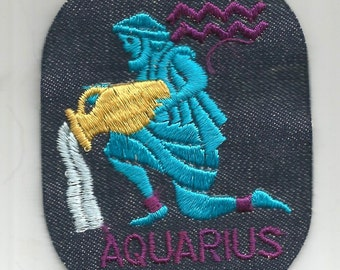 Aquarius Zodiac Vintage 1970's Sewing Patch Applique
