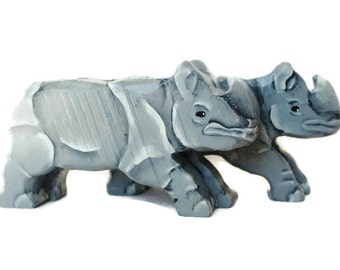 Wooden Noahs Ark - Rhinoceros Pair