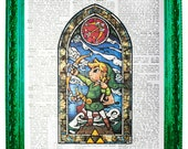 vintage dictionary art ink print 7.75x10.75 inches wind waker link zelda stained glass link with arrow dictionary paper