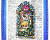 vintage dictionary art ink print 7.75x10.75 inches wind waker link zelda stained glass link with boomerang dictionary paper