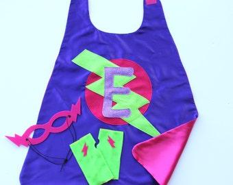 GIRLS PERSONALIZED Superhero COSTUME Cape Set - Sparkle Glitter Initial Cape - Includes Cape plus 2 accessories - 2 choices - Dressup