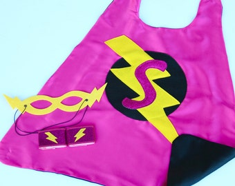 GIRLS PERSONALIZED Superhero COSTUME Cape Set - Sparkle Glitter Initial Cape - Includes Cape plus 2 accessories - 2 choices - Dressup