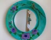 Decorative wall mirrors, Cottage decor, Shabby chic mirror, Bohemian mirror, round, gypsy decor, Floral mirror, Lilac roses, Boho chic