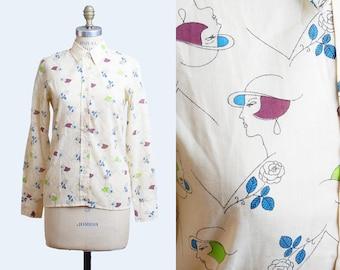 Vintage 60s Figural Art Deco Print TOP / 1960s Cotton Flapper Print Novelty Shirt, s m