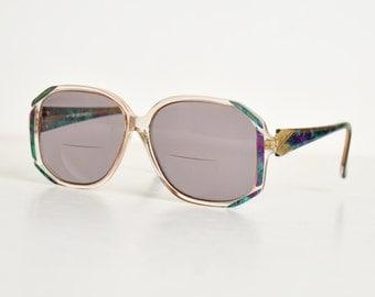 Vintage 70s Green & Purple Oversized Marbleized Frames