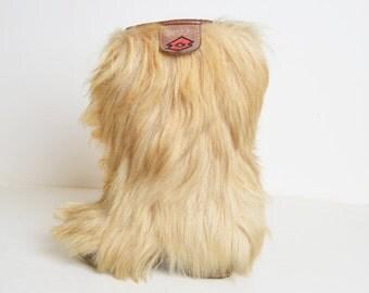 Vintage 70s LOTTO Goat Fur Ski BOOTS / 1970s Yeti Apres Boots, 8.5 38.5