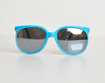 80s 90s Blue & Black Speckle Mirrored Sunglasses Shades