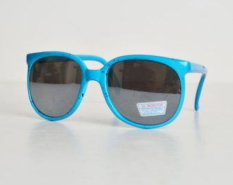 Vintage 80s 90s Blue & Black Speckle Mirrored Sunglasses Shades