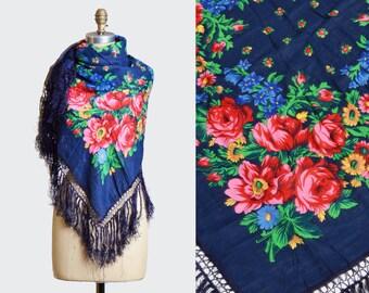 Vintage 70s Square Floral Fringe Scarf / Floral Print Scarf