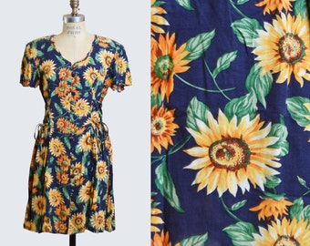 Vintage 90s Floral Dress Grunge Button Up Boho Mini Sunflower Print / 1990s Ditsy Fitted Scoop Neck Short Sleeve Navy Yellow Green S M