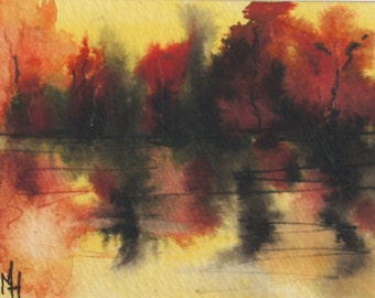 Abstract Original landscape ACEO painting - Mini art trading card, original ATC, 2.5 by 3.5 in - Lake Sunset 4 - watercolour, Free Shipping